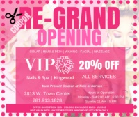 VIP NAILS AND SPA KINGWOOD COUPON 20